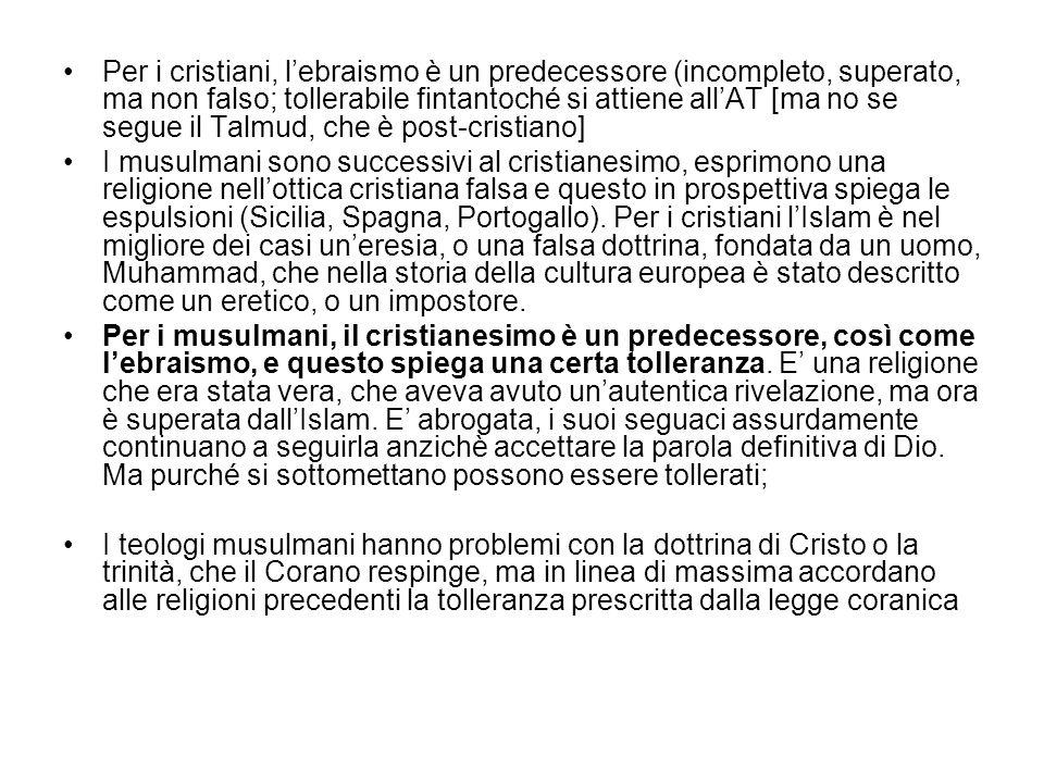 Per i cristiani, l'ebraismo è un predecessore (incompleto, superato, ma non falso; tollerabile fintantoché si attiene all'AT [ma no se segue il Talmud, che è post-cristiano]